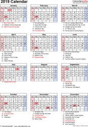 Download Word template for 2019 calendar template 17: portrait orientation, 1 page, with US federal holidays, observances, festivals and celebrations