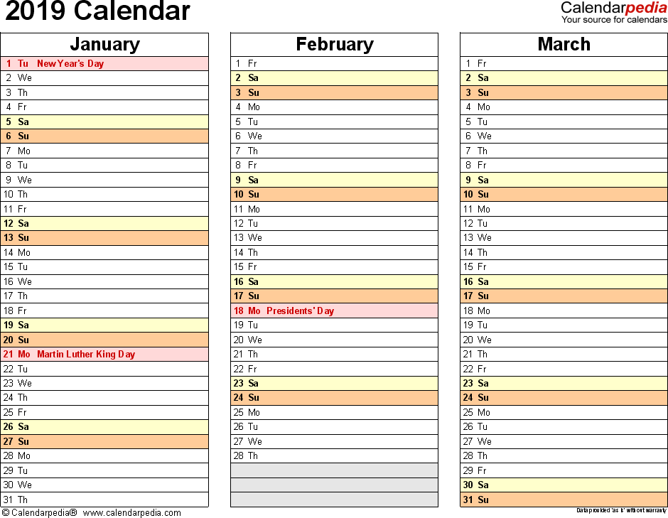 Template 5: 2019 Calendar for PDF, months horizontally, 4 pages, landscape orientation