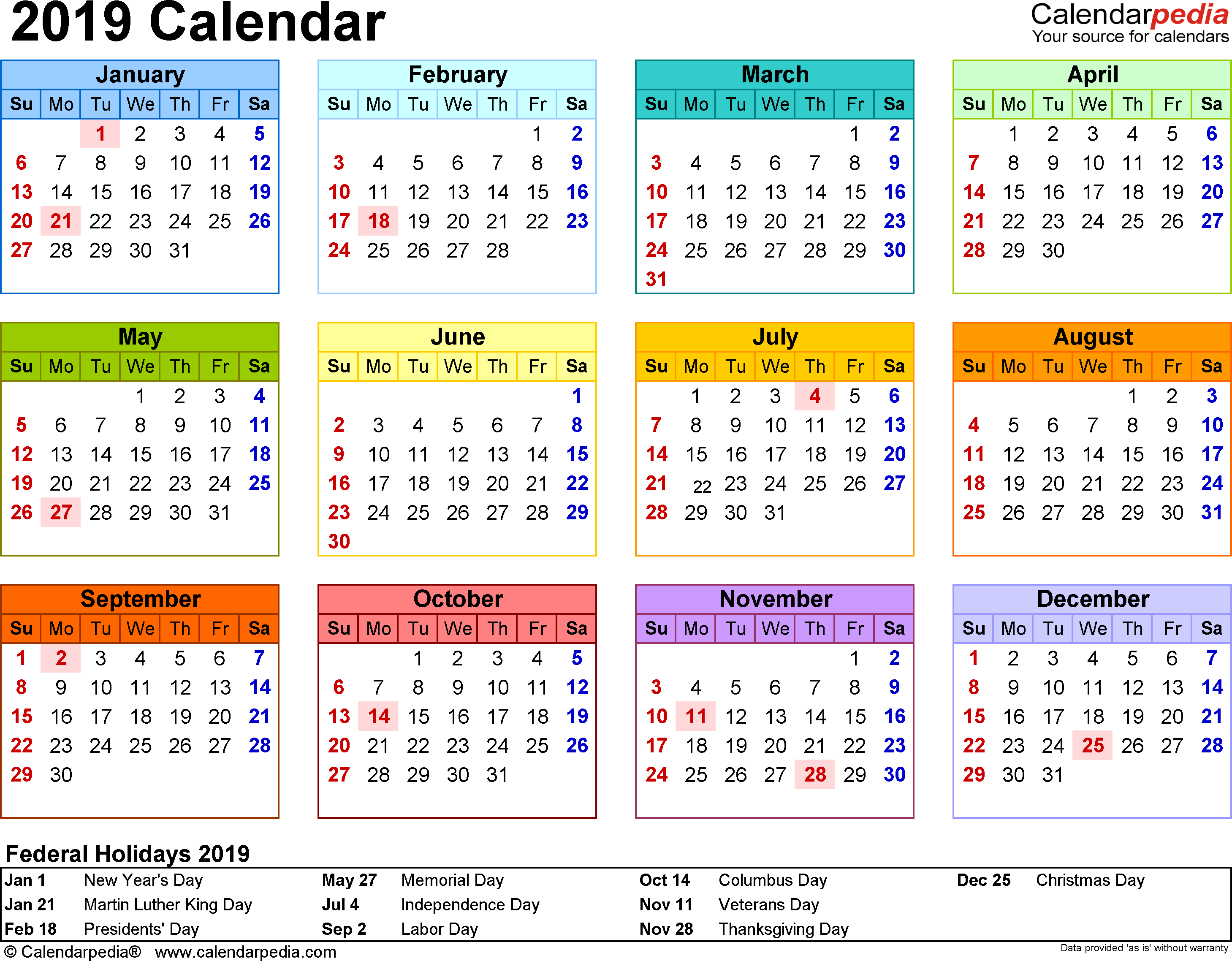 Template 8: 2019 Calendar for PDF, year at a glance, 1 page, in color, landscape orientation