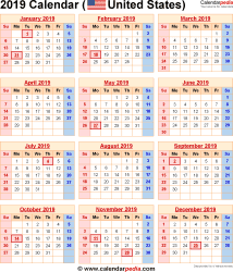 United States Calendar 2019 2019 Calendar with Federal Holidays & Excel/PDF/Word templates