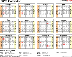 Template 9: 2019 Calendar for Excel, year at a glance, 1 page, landscape orientation