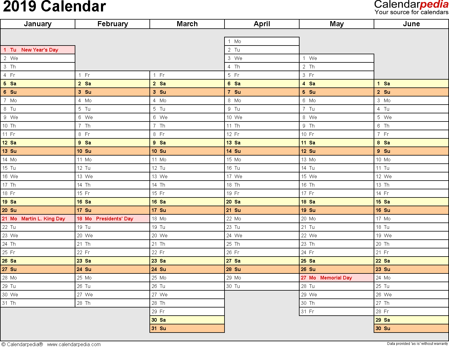 Template 4: 2019 Calendar for PDF, months horizontally, 2 pages, days of the week aligned/linear, landscape orientation