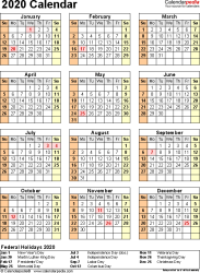 Template 11: 2020 Calendar for Excel, year at a glance, 1 page, portrait orientation