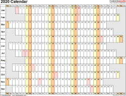Template 7: 2020 Calendar in PDF format, landscape, 1 page, linear, days aligned