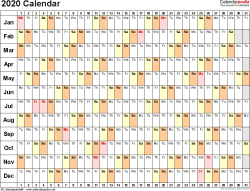 Modello Calendario 2020.Calendario 2020 Excel Modificabile Calendario 2020