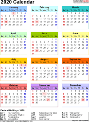 Template 10: 2020 Calendar for Excel, year at a glance, 1 page, in color, portrait orientation