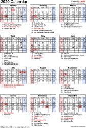 Download PDF template for 2020 calendar template 17: portrait orientation, 1 page, with US federal holidays, observances, festivals and celebrations