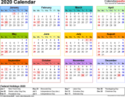 Template 8: 2020 Calendar for Excel, year at a glance, 1 page, in color, landscape orientation