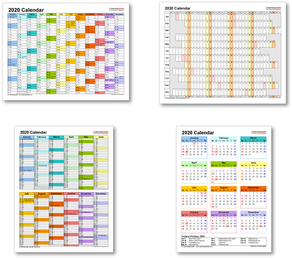 Calendar templates 2020 for Word, Excel and PDF