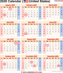 Work Week Calendar 2020 2020 Calendar with Federal Holidays & Excel/PDF/Word templates