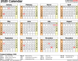 Template 9: 2020 Calendar for Excel, year at a glance, 1 page, landscape orientation
