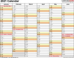 Template 3: 2021 Calendar for Excel, months horizontally, 2 pages, landscape orientation