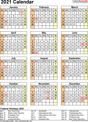 Template 17: 2021 Calendar for Excel, year at a glance, 1 page, portrait orientation