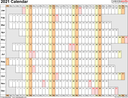 Template 4: 2021 Calendar for PDF, linear (days horizontally), 1 page, landscape orientation, days aligned
