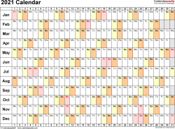 Template 6: 2021 Calendar for Excel, linear (days horizontally), 1 page, landscape orientation