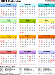 Template 17: 2021 Calendar in PDF format, portrait, 1 page, year at a glance, multi-colored
