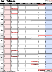 Download Excel template for 2021 calendar template 15: portrait orientation, 1 page, with US federal holidays and week numbers, days in continuous flow/rolling layout