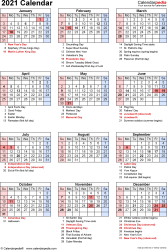Download Excel template for 2021 calendar template 18: portrait orientation, 1 page, with US federal holidays, observances, festivals and celebrations