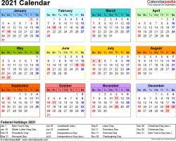 Template 8: 2021 Calendar in PDF format, landscape, 1 page, year at a glance, multi-colored