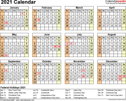 Template 9: 2021 Calendar for Excel, year at a glance, 1 page, landscape orientation