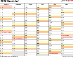 Download Template 3: 2022 Calendar for Microsoft Excel (.xlsx file), landscape, 2 pages, half a year per page