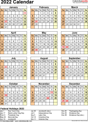 Download Template 18: 2022 Calendar for Microsoft Word (.docx file), portrait, 1 page, year at a glance