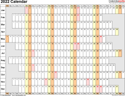 Template 7: 2022 Calendar for PDF, linear (days horizontally), 1 page, landscape orientation, days aligned