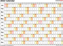 Template 6: 2022 Calendar for PDF, linear (days horizontally), 1 page, landscape orientation