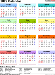 Download Template 17: 2022 Calendar for Microsoft Word (.docx file), portrait, 1 page, year at a glance, multi-colored