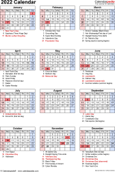 Download PDF template for 2022 calendar template 17: portrait orientation, 1 page, with US federal holidays, observances, festivals and celebrations