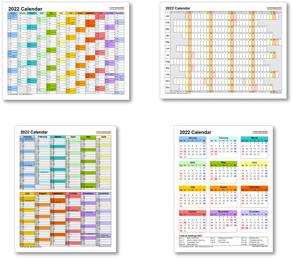 Calendar templates 2022 for Word, Excel & PDF