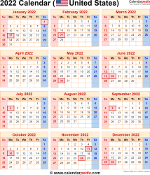 2022 calendar for the usa with us federal holidays