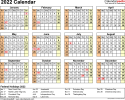 Template 9: 2022 Calendar for PDF, year at a glance, 1 page, landscape orientation