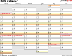 Template 4: 2022 Calendar for PDF, months horizontally, 2 pages, days of the week in line/linear, landscape orientation