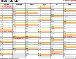 Template 3: 2023 Calendar for Excel, months horizontally, 2 pages, landscape orientation