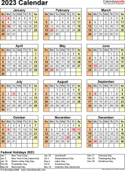 Download Template 18: 2023 Calendar for Microsoft Word (.docx file), portrait, 1 page, year at a glance