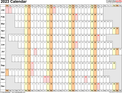 Template 7: 2023 Calendar for PDF, linear (days horizontally), 1 page, landscape orientation, days aligned