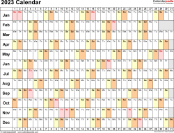 Template 6: 2023 Calendar for PDF, linear (days horizontally), 1 page, landscape orientation