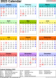 Download Template 17: 2023 Calendar for Microsoft Word (.docx file), portrait, 1 page, year at a glance, multi-colored