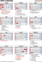 Download PDF template for 2023 calendar template 18: portrait orientation, 1 page, with US federal holidays, observances, festivals and celebrations