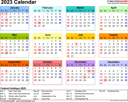 Download Template 8: 2023 Calendar for Microsoft Word (.docx file), landscape, 1 page, year at a glance, multi-colored