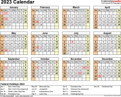 Download Template 9: 2023 Calendar for Microsoft Word (.docx file), landscape, 1 page, year at a glance