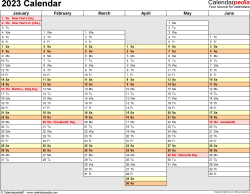 Download Template 4: 2023 Calendar for Microsoft Word (.docx file), landscape, 2 pages, days aligned, half a year per page