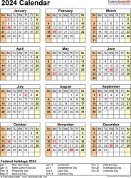 Template 18: 2024 Calendar in PDF format, portrait, 1 page, year at a glance