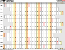 Template 7: 2024 Calendar for Excel, linear (days horizontally), 1 page, landscape orientation, days aligned