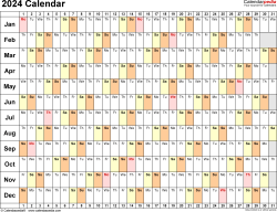 Template 6: 2024 Calendar for Excel, linear (days horizontally), 1 page, landscape orientation