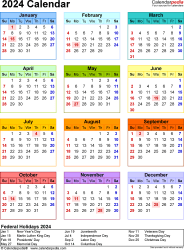 Template 17: 2024 Calendar for Excel, year at a glance, 1 page, in color, portrait orientation
