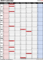 Download PDF template for 2024 calendar template 16: portrait orientation, 1 page, with US federal holidays and week numbers, days in continuous (rolling) layout