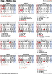 Download PDF template for 2024 calendar template 19: portrait orientation, 1 page, with US federal holidays, observances, festivals and celebrations