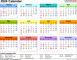 Template 8: 2024 Calendar for Excel, year at a glance, 1 page, in color, landscape orientation